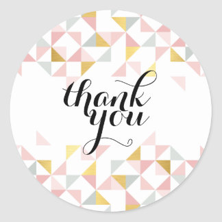 THANK YOU modern triangle aztec pattern coral gold Classic Round Sticker