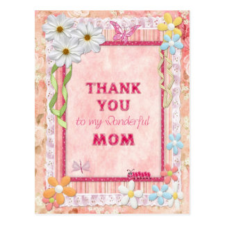 Thank you mom, flowers and butterflies craft card postcard