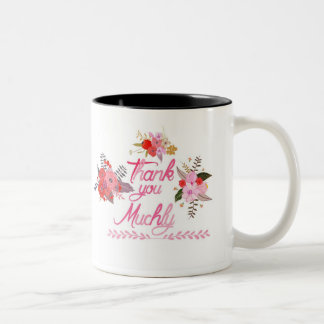 Thank you muchly with watercolor flowers Two-Tone mug