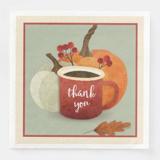 Thank  you Mug With Pumpkin, Thanksgiving Napkins Disposable Napkins