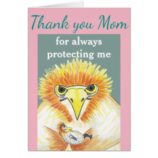 """Thank you Mum"", funny Mother Bird and her baby Card"