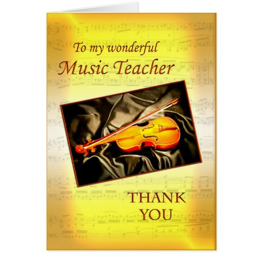 Thank you music teacher card with a violin