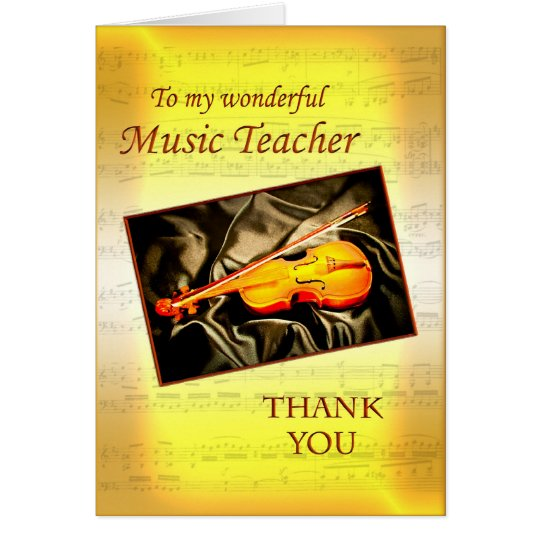 Thank you music teacher card with a violin
