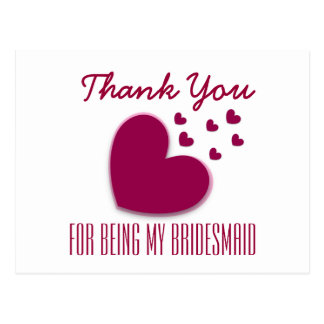 THANK YOU My Bridesmaid with Hearts V04A Postcard