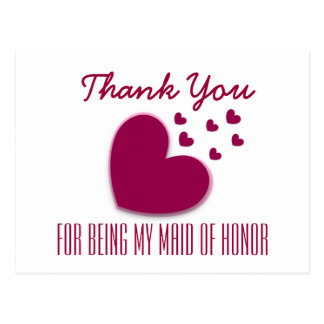 THANK YOU My Maid of Honor with Hearts V03 Postcard