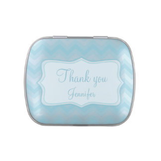 Thank you name blue zigzag candy tin