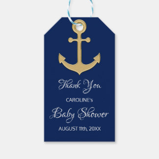 THANK YOU Nautical Navy Blue Anchor BABY SHOWER Gift Tags