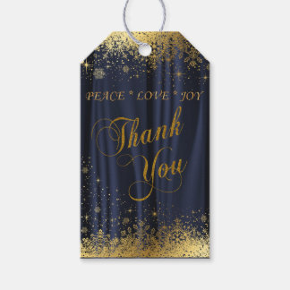 Thank You Navy Blue Satin and Gold