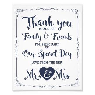 thank you navy nautical wedding sign