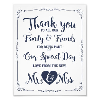 thank you navy nautical wedding sign photo