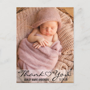 Thank You New Baby Modern Photo Heart Announcement Postcard