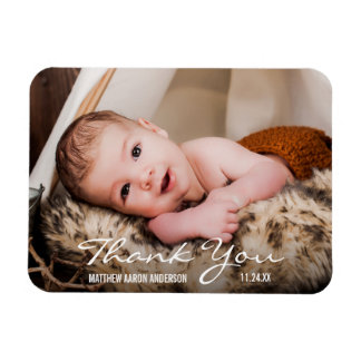 Thank You New Baby Photo Announcement Magnet BW