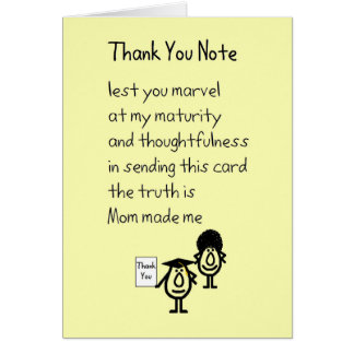 Thank You Note - a graduation gift thank you poem Card