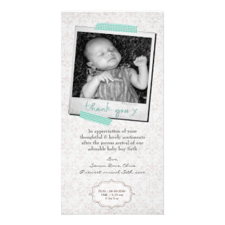 Thank You Note Baby Boy Announcement Template Personalized Photo Card