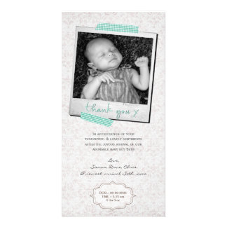 Thank You Note Baby Boy Blue Washi Tape Polaroid Photo Greeting Card