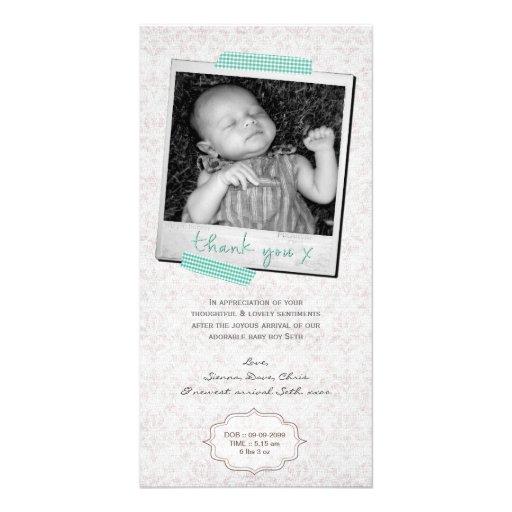 Thank You Note Baby Boy Blue Washi Tape Polaroid Photo Greeting Card