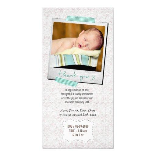 Thank You Note Baby Boy Blue Washi Tape Polaroid Customized Photo Card