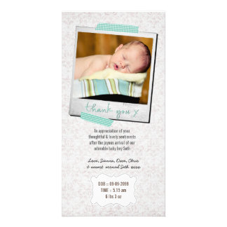 Thank You Note Baby Boy Blue Washi Tape Polaroid Picture Card