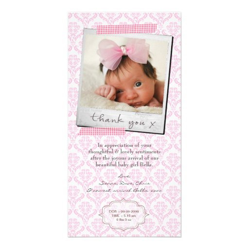 Thank You Note Baby Girl Announcement Template Personalized Photo Card