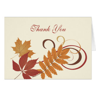 Thank You Note Card | Autumn Falling Leaves
