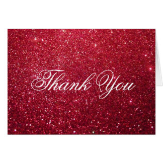 Thank You Note Card - Cherry Glitter Fab