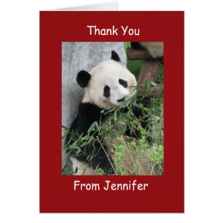 Thank You Note Card, Giant Panda, Custom Red Note Card