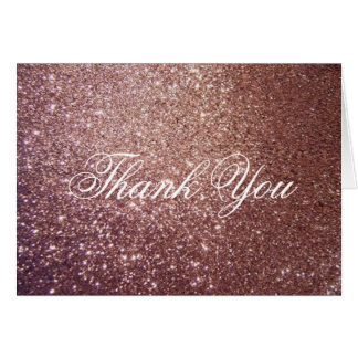 Thank You Note Card - Rose Glitter Fab