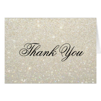 Thank You Note Card - White Gold Glit Fab