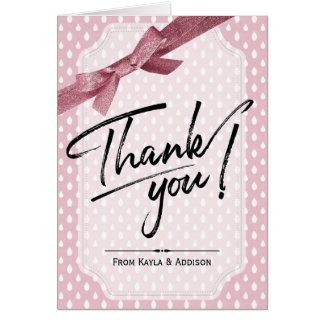 Thank You Note Cards | Blush Pink Raindrop Pattern