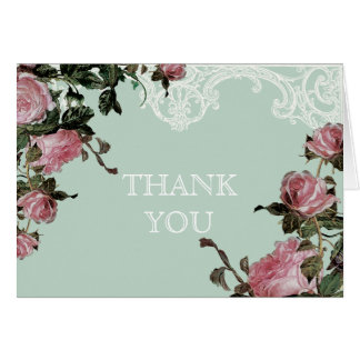 Thank You Note Cards Wedding, Trellis Rose Vintage