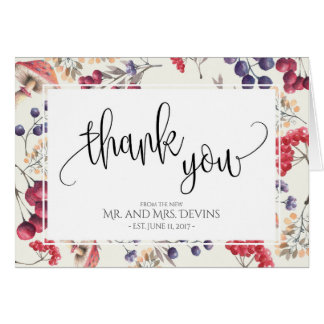 Thank You Note Floral Frame Folding Notecard