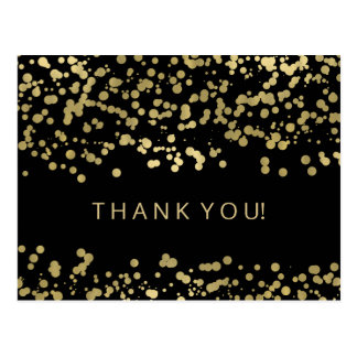 Thank You Note Gold Foil Confetti Postcard