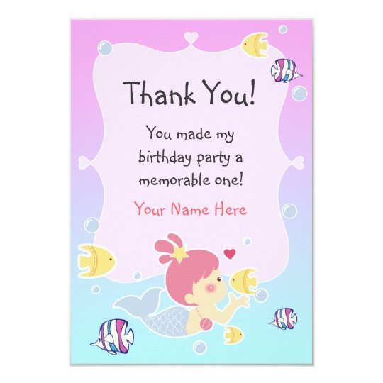 Thank You Note - Mermaid Theme Birthday Party Card