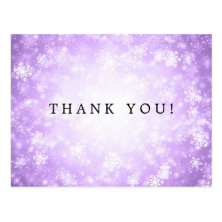 Thank You Note Purple Winter Wonderland Postcard
