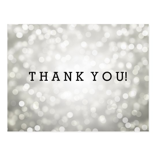 Thank You Note Silver Glitter Lights Postcard