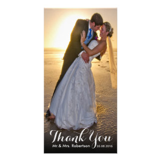 Thank You Note | Simple Wedding Photo Template Custom Photo Card