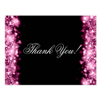 Thank You Note Sparkling Lights Pink Postcard