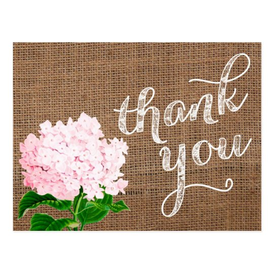 thank you note, thank you postcard, burlap postcard