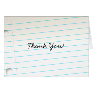 Thank You Notebook Paper Tilted Greeting Card