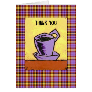 Thank you notecard with coffee cup on plaid