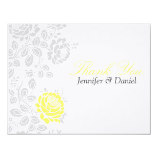 Thank You Notes Yellow and Gray Damask 11 Cm X 14 Cm Invitation Card
