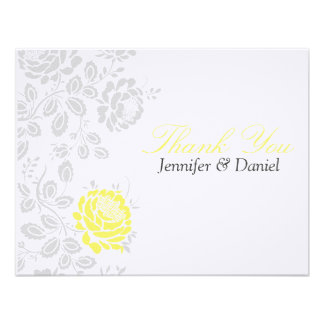 Thank You Notes Yellow and Gray Damask Announcements