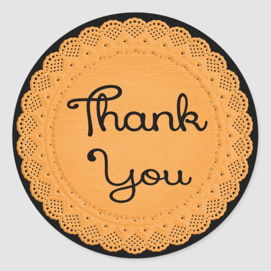 Thank You Orange and Black Lace Doily Sticker