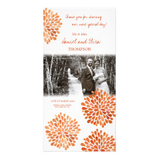 Thank You Orange Autumn Fall Blooms Wedding Photo Picture Card