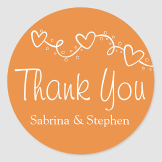 Thank You Orange White Heart Love Wedding Party Classic Round Sticker