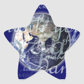 Thank you over earth in different languages star sticker
