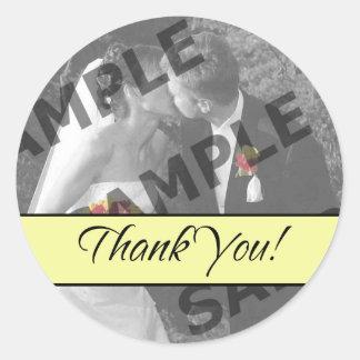 Thank You - Pale Yellow Round Sticker