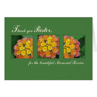 Thank You Pastor, Memorial Funeral Service, Flower Card
