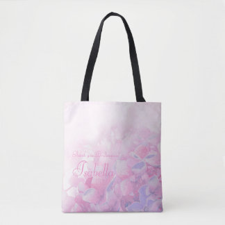 Thank you personalize hydrangea pink tote bag