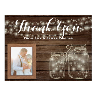 Thank YOU Photo Card Rustic Wedding Mason Jars